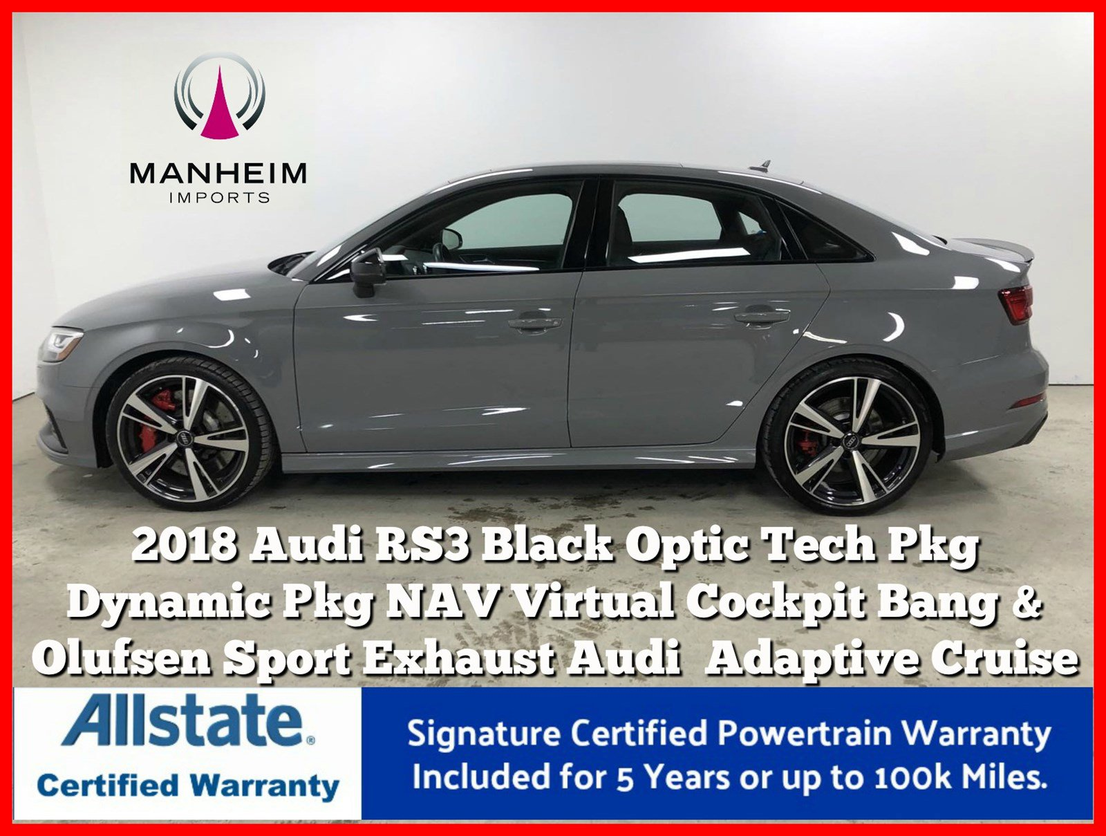 Pre-Owned 2018 Audi RS 3 Dynamic Black Optic