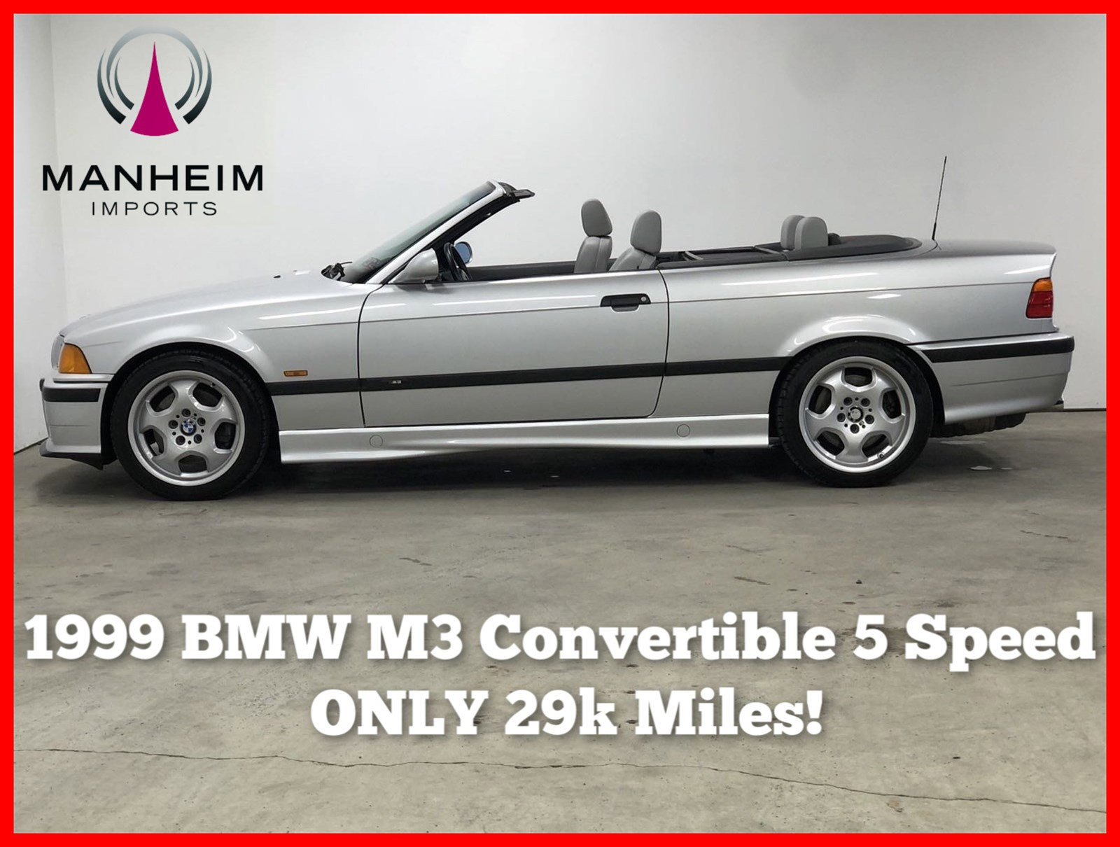 Pre-Owned 1999 BMW 3 Series M3 Convertible 5 Speed