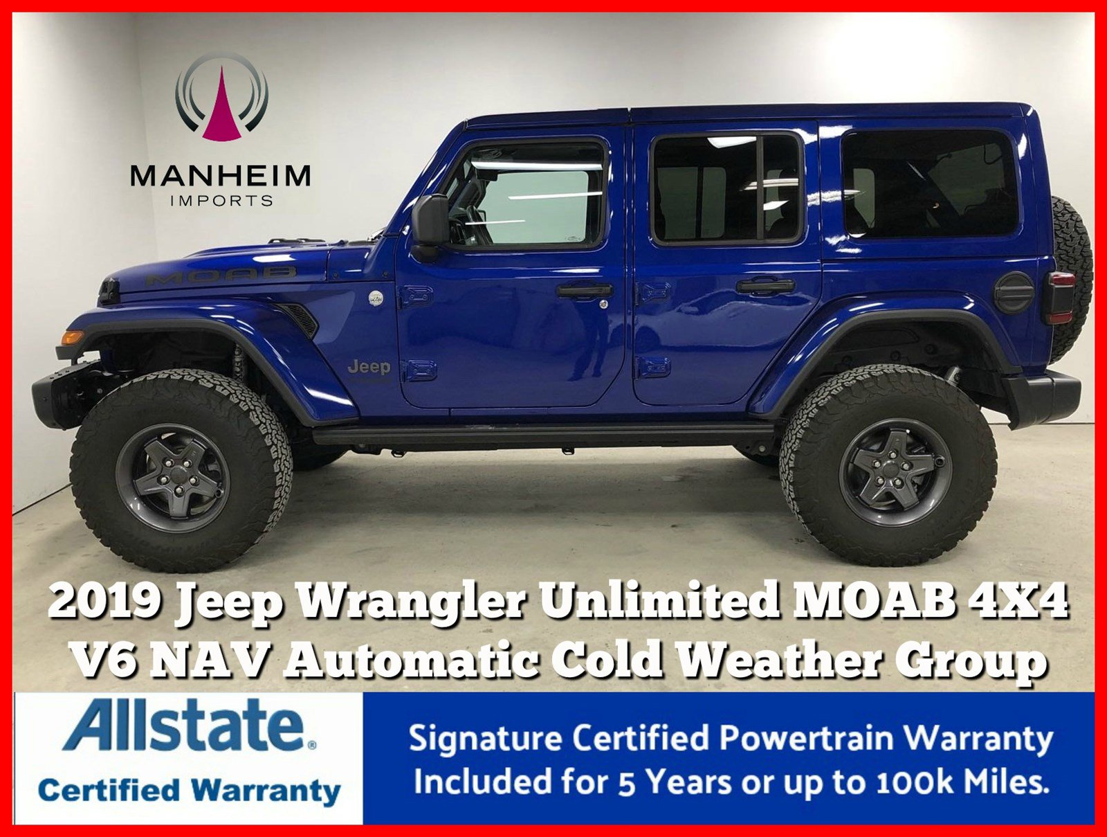 Pre-Owned 2019 Jeep Wrangler Unlimited Moab 4X4