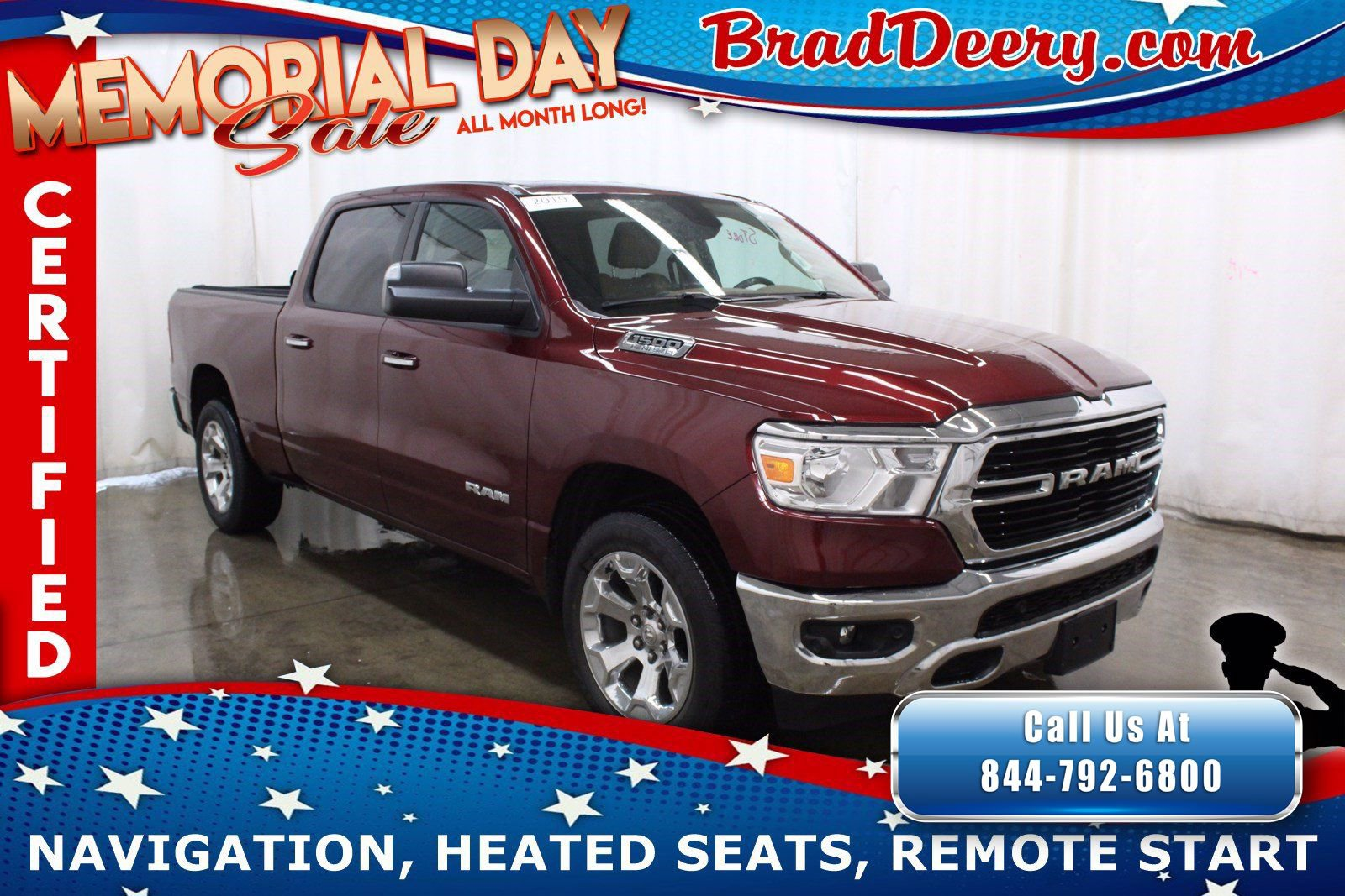 2019 Ram 1500 Big Horn Crew Cab 4x4   **RAM CERTIFIED** w/ Navigation, Heated Seats, Remote Start & Level 2 Group