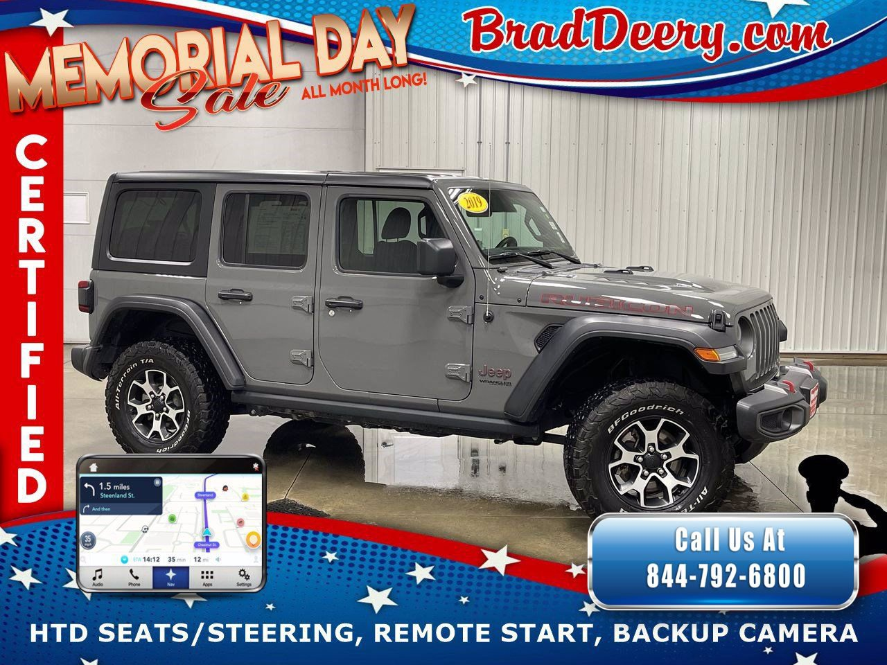 2019 Jeep Wrangler Unlimited 4-Door Rubicon 4x4  **JEEP CERTIFIED** w/ Navigation, Heated Seats, Remote Start & Black 3-Piece Hardtop