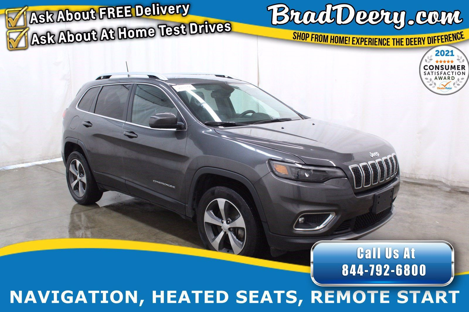 2019 Jeep Cherokee Limited 4X4 w/ Navigation, Heated Leather, Remote Start, Power Liftgate & Trailer Tow Pkg.