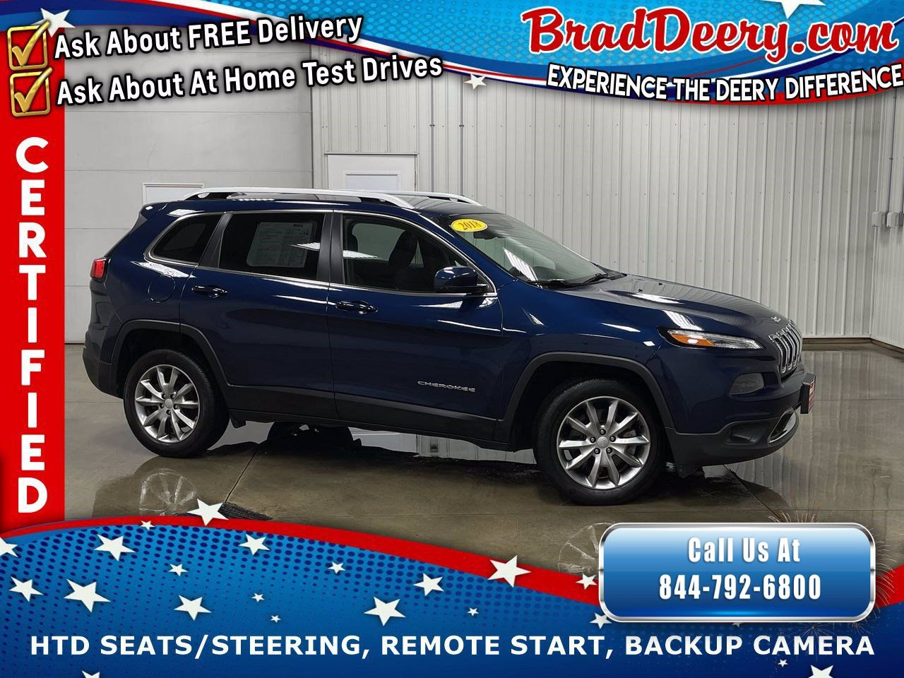 2018 Jeep Cherokee Limited w/ Heated Leather Seats, Remote Start, Back-Up Camera & Power Liftgate