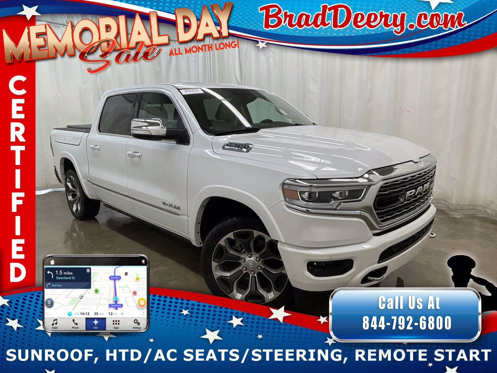 2020 Ram 1500 Limited Crew Cab 4x4   **RAM CERTIFIED** w/ Rambox Cargo System, Navi, Heated & Cooled Leather Seats