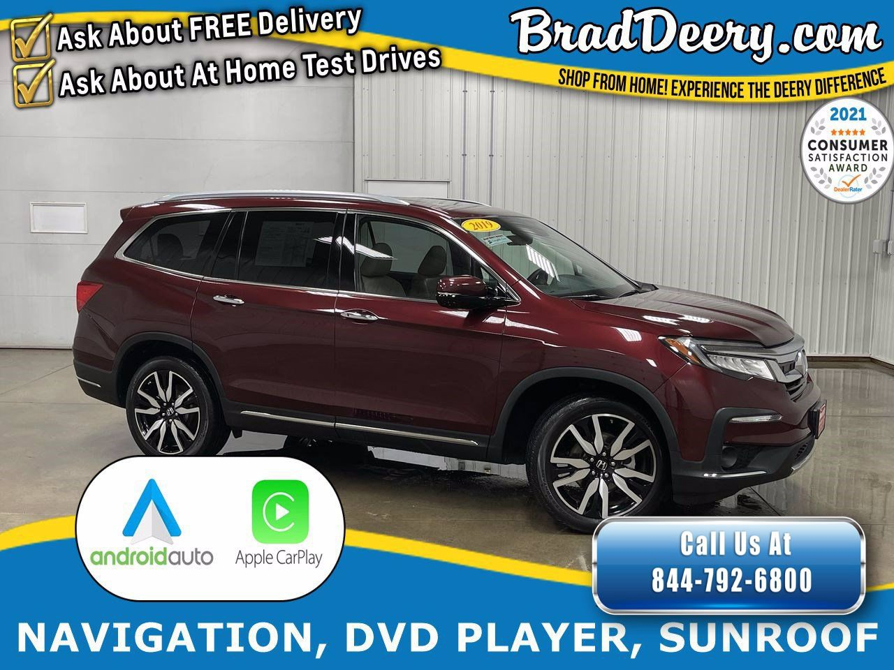 2019 Honda Pilot Touring 7-Passenger w/ DVD Rear Entertainment, Sunroof, Heated Leather Seats & 3rd Row Seating