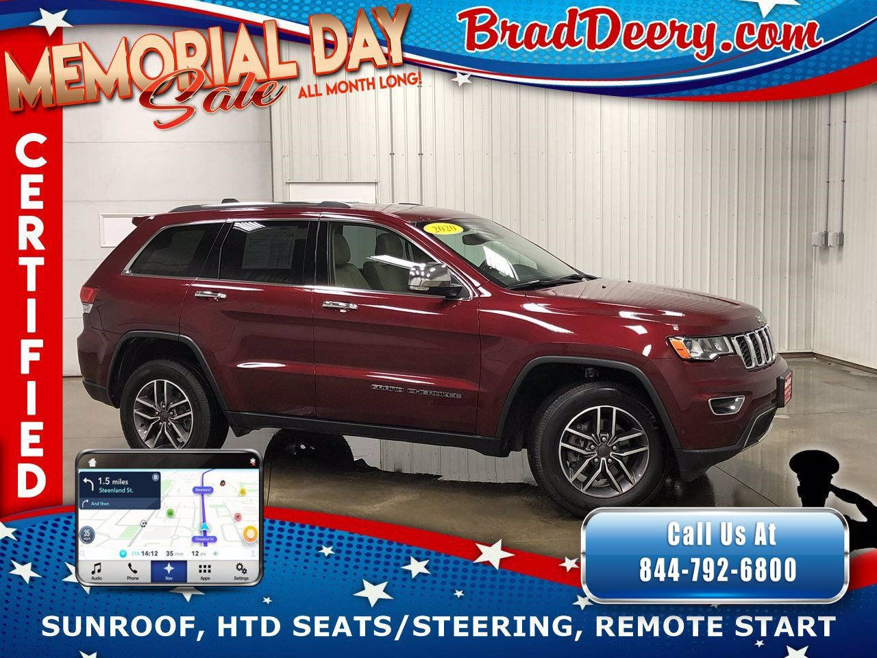 2020 Jeep Grand Cherokee Limited 4X4  **JEEP CERTIFIED** w/ Navigation, Sunroof, Heated Leather Seats & Remote Start