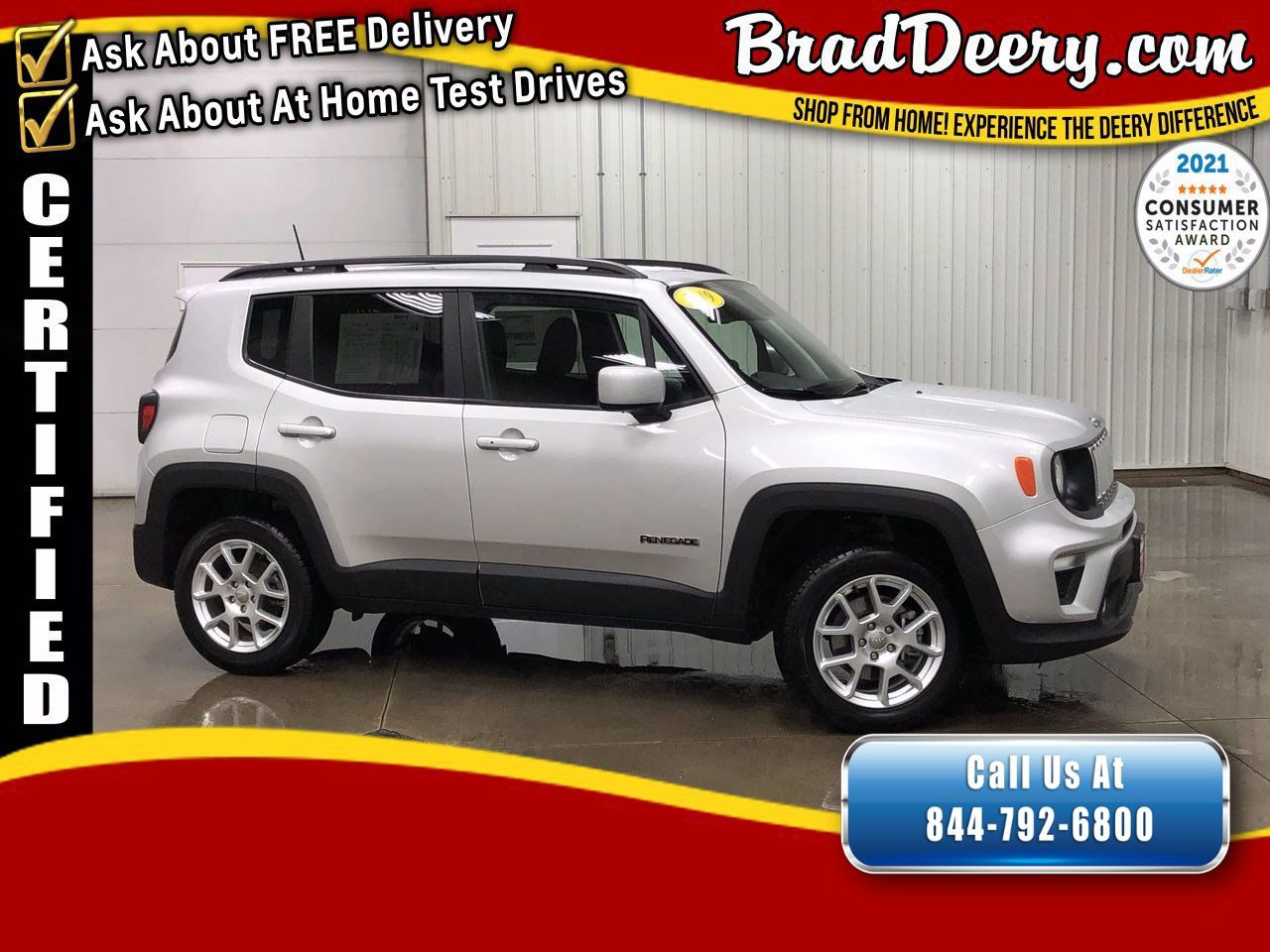 2019 Jeep Renegade Latitude 4X4   **JEEP CERTIFIED** w/ Clean Carfax, Accident Free, Remote Start & Back Up Camera