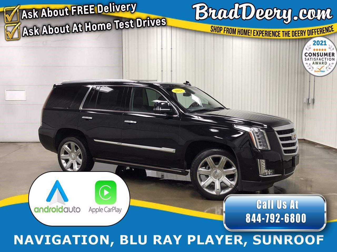 2018 Cadillac Escalade Premium Luxury 4WD w/ Blu-Ray/DVD Rear Entertainment, Sunroof, Navigation, Heated & Cooled Leather