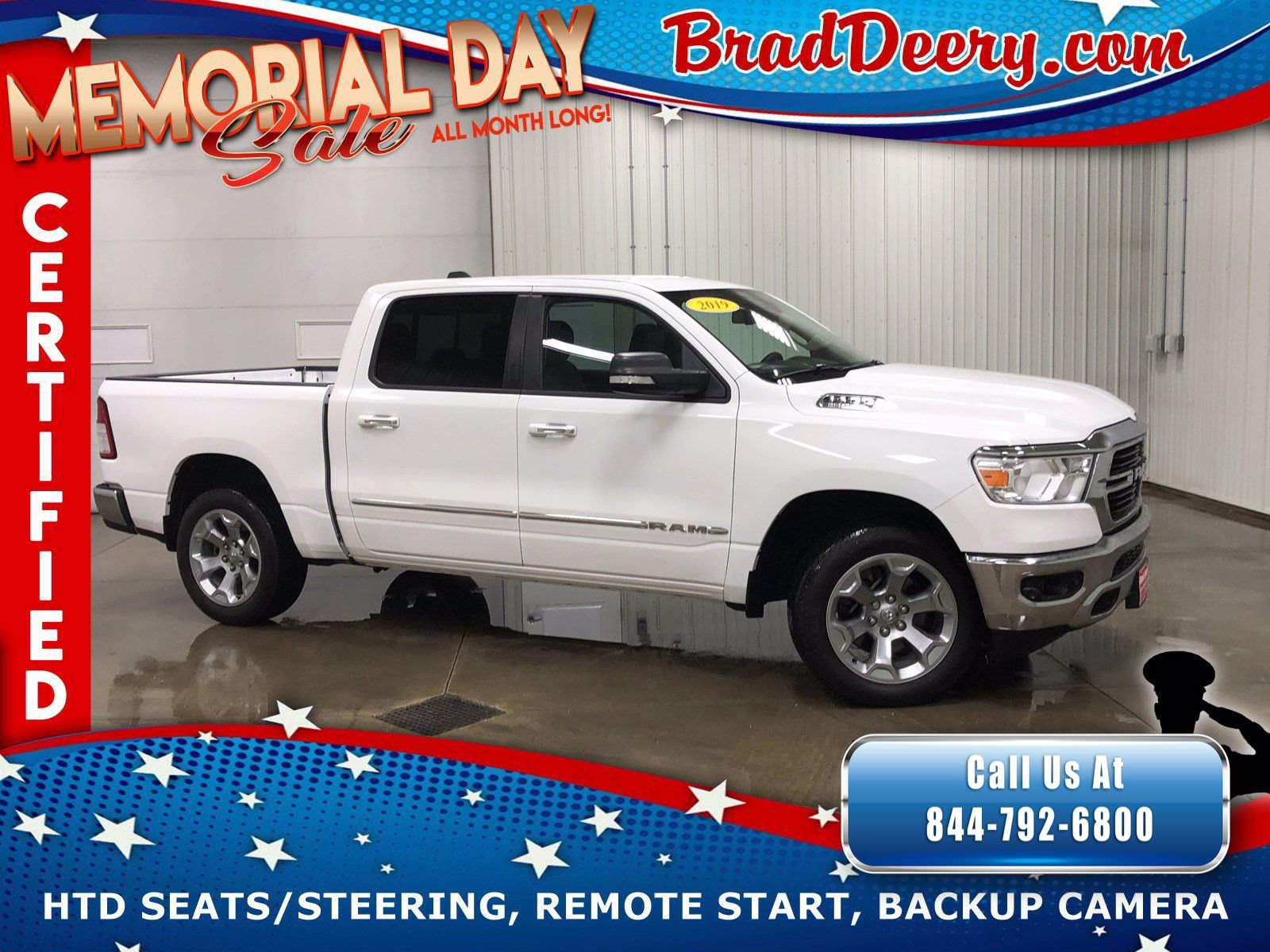 2019 Ram 1500 Big Horn Crew Cab 4X4 ** RAM CERTIFIED ** w/ Heated Seats, R.Start & Big Horn Level 2 Equip. Group