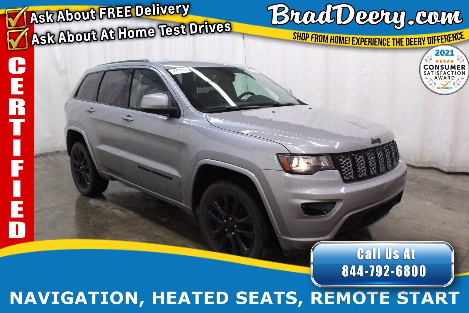 2018 Jeep Grand Cherokee Altitude 4x4   ** JEEP CERTIFIED ** w/ Navigation, Heated Leather/Suede, Power Liftgate & R.Start