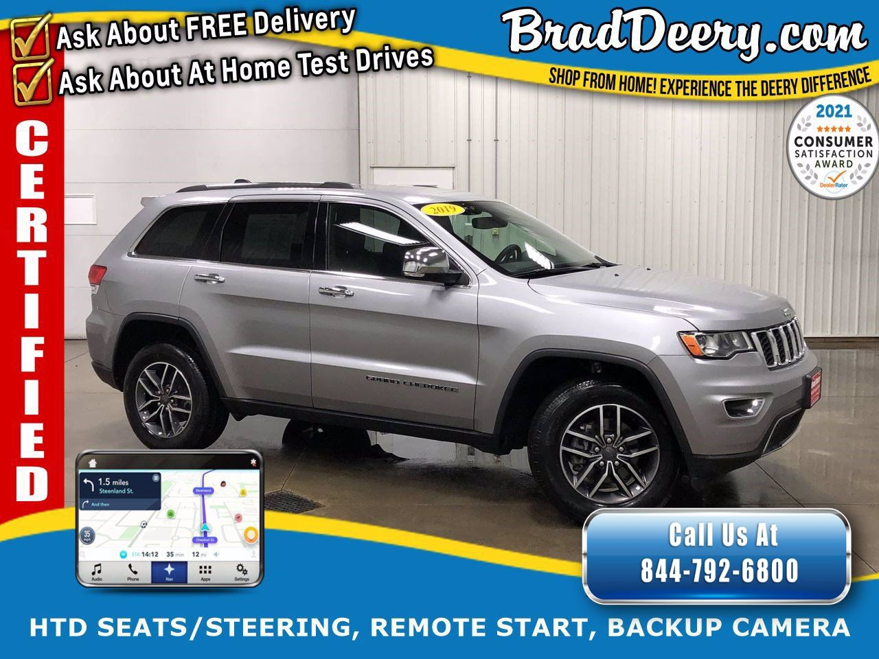 2019 Jeep Grand Cherokee Limited 4X4   ** JEEP CERTIFIED ** w/ Navigation, Heated Leather, Remote Start & Power Lift Gate