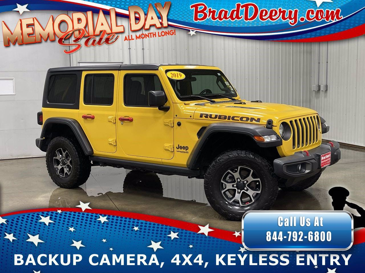 2019 Jeep Wrangler Unlimited 4-Door Rubicon 4x4  w/ Uconnect 4, Black 3-Piece Hardtop & Class III Trailer Tow & Hitch Receiver