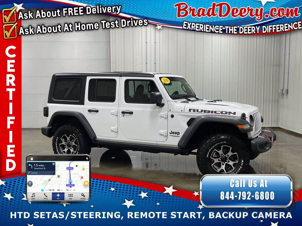 2020 Jeep Wrangler Unlimited 4-Door Rubicon 4x4   ** JEEP CERTIFIED ** w/ Heated Leather, Navigation, Remote Start & Back-Up Cam