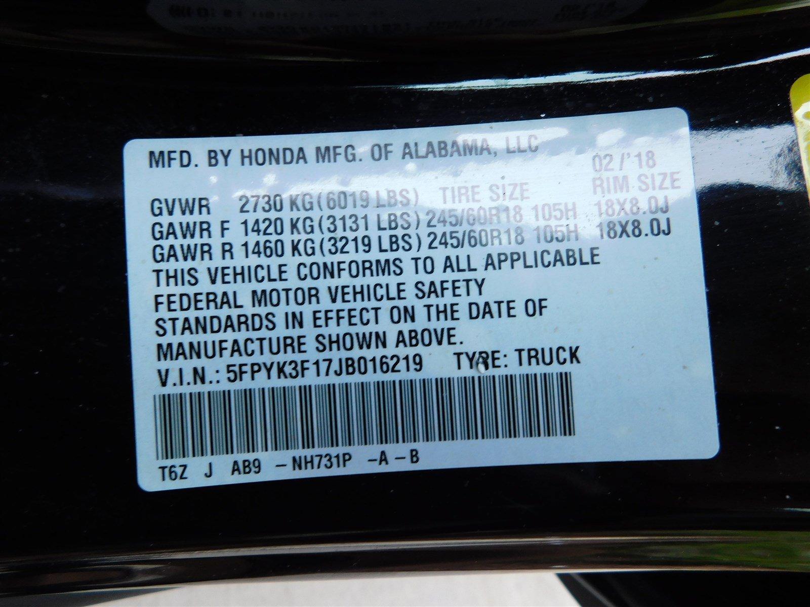 Certified Pre-Owned 2018 Honda Ridgeline Sport