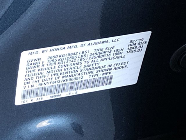 New 2019 Honda Pilot EX